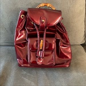 Auth. Gucci Maroon Small Bamboo Backpack❤️